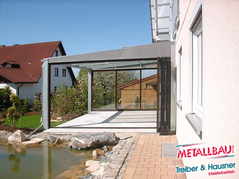 Terrasse Aus Stahl metallbau treiber hausner überdachung giebeldach pultdach